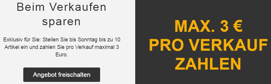 Max. 3 Euro Verkaufsprovision bei ebay