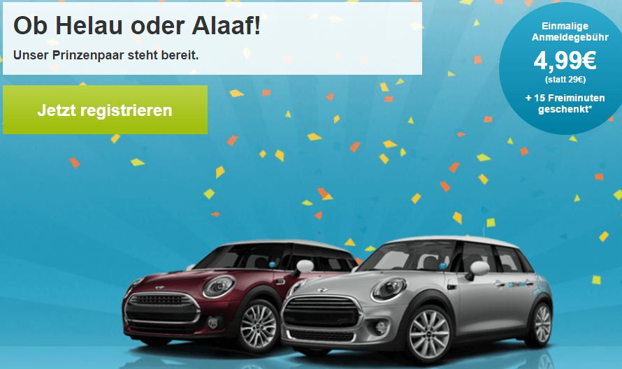 Drive Now für 5 Euro mit 15 Freiminuten