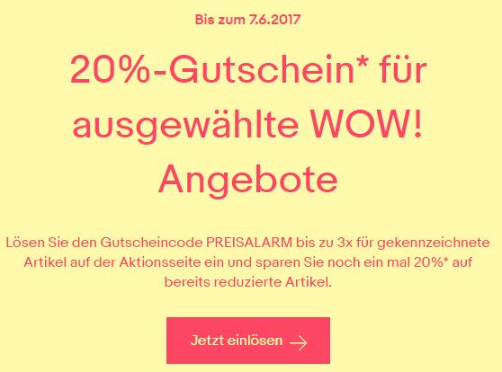 20 Prozent Rabatt auf ebay WOW Artikel